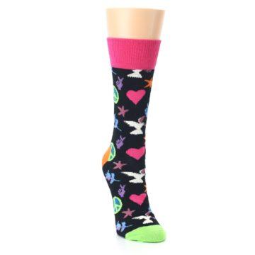 Image of Black Multi-Color Peace Love Women's Dress Socks (side-1-front-03)
