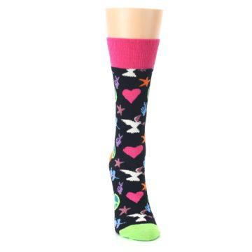 Image of Black Multi-Color Peace Love Women's Dress Socks (front-04)