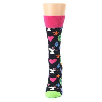 Image of Black Multi-Color Peace Love Women's Dress Socks (side-2-front-06)
