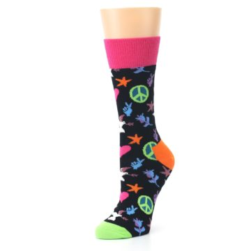 Image of Black Multi-Color Peace Love Women's Dress Socks (side-2-09)