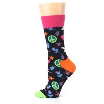 Image of Black Multi-Color Peace Love Women's Dress Socks (side-2-12)
