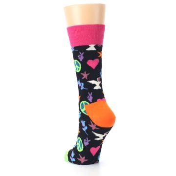 Image of Black Multi-Color Peace Love Women's Dress Socks (side-2-back-16)