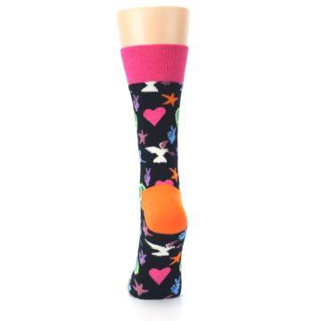 Image of Black Multi-Color Peace Love Women's Dress Socks (back-18)