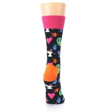 Image of Black Multi-Color Peace Love Women's Dress Socks (side-1-back-20)
