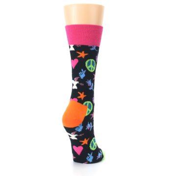 Image of Black Multi-Color Peace Love Women's Dress Socks (side-1-back-21)