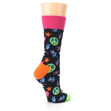 Image of Black Multi-Color Peace Love Women's Dress Socks (side-1-23)