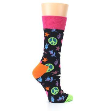 Image of Black Multi-Color Peace Love Women's Dress Socks (side-1-24)