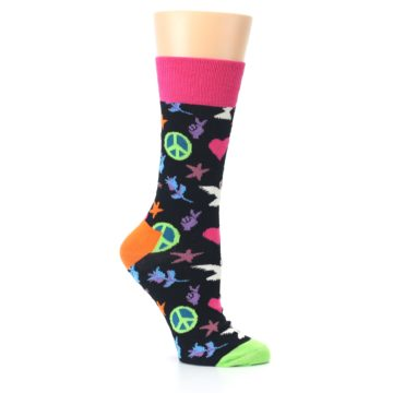 Image of Black Multi-Color Peace Love Women's Dress Socks (side-1-26)