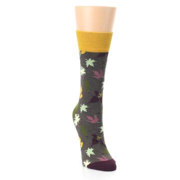 Image of Brown Autumn Falling Leaves Women's Dress Socks (side-1-front-03)