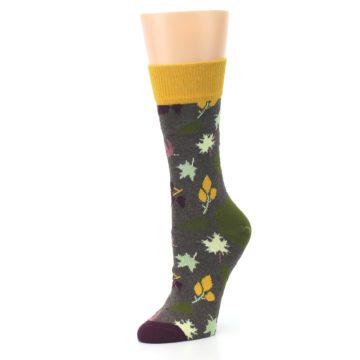 Image of Brown Autumn Falling Leaves Women's Dress Socks (side-2-09)