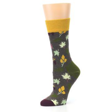 Image of Brown Autumn Falling Leaves Women's Dress Socks (side-2-10)