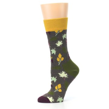 Image of Brown Autumn Falling Leaves Women's Dress Socks (side-2-11)