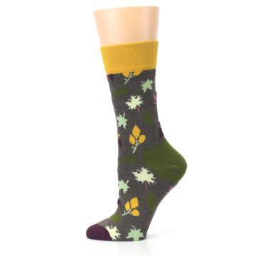 Image of Brown Autumn Falling Leaves Women's Dress Socks (side-2-12)