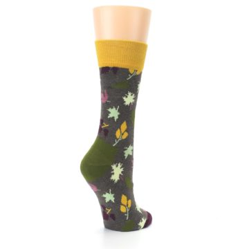 Image of Brown Autumn Falling Leaves Women's Dress Socks (side-1-back-22)