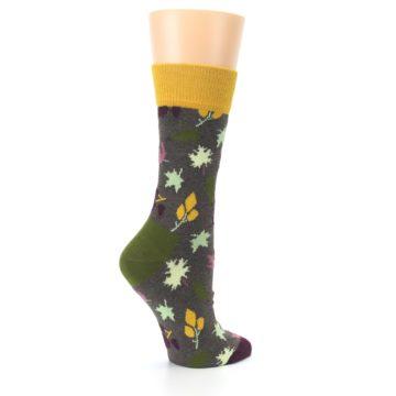 Image of Brown Autumn Falling Leaves Women's Dress Socks (side-1-23)