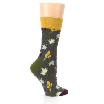 Image of Brown Autumn Falling Leaves Women's Dress Socks (side-1-24)