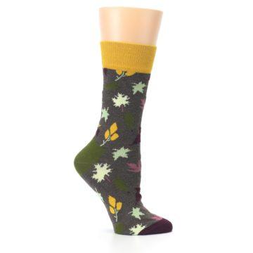 Image of Brown Autumn Falling Leaves Women's Dress Socks (side-1-25)