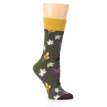 Image of Brown Autumn Falling Leaves Women's Dress Socks (side-1-26)