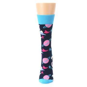 Image of Navy Pink Outer Space Women's Dress Socks (side-2-front-06)