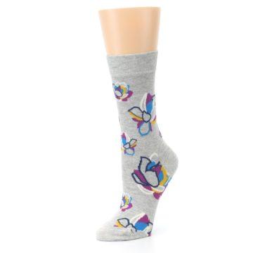 Image of Gray Blue Purple Floral Women's Dress Socks (side-2-09)