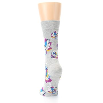Image of Gray Blue Purple Floral Women's Dress Socks (back-17)