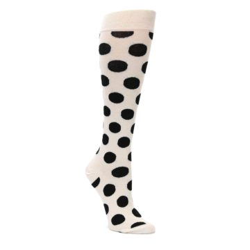 White-Black-Polka-Dot-Womens-Knee-High-Socks-Happy-Socks