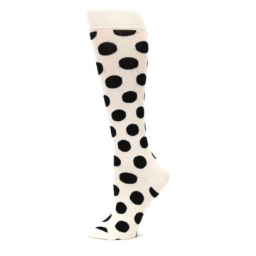Image of White Black Polka Dot Women's Knee High Socks (side-2-12)