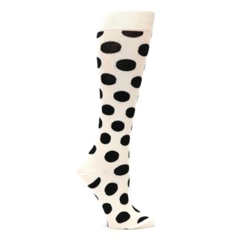 Image of White Black Polka Dot Women's Knee High Socks (side-1-25)