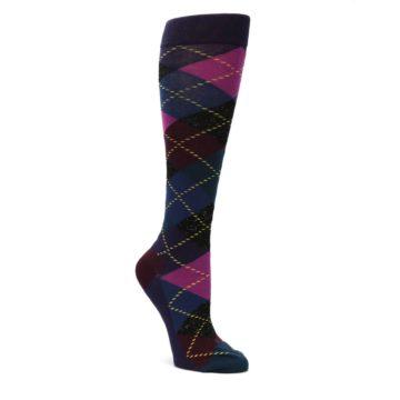 Purple-Multi-Argyle-Womens-Knee-High-Socks-Happy-Socks