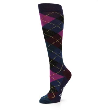 Image of Purple Multi Argyle Women's Knee High Socks (side-2-10)