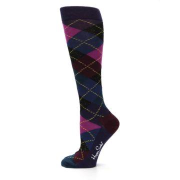 Image of Purple Multi Argyle Women's Knee High Socks (side-2-12)