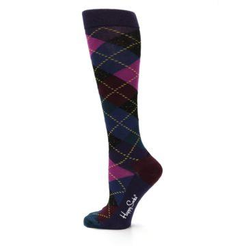 Image of Purple Multi Argyle Women's Knee High Socks (side-2-13)