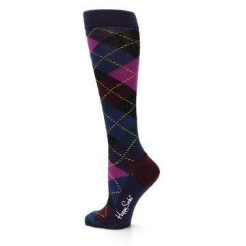 Image of Purple Multi Argyle Women's Knee High Socks (side-2-back-14)