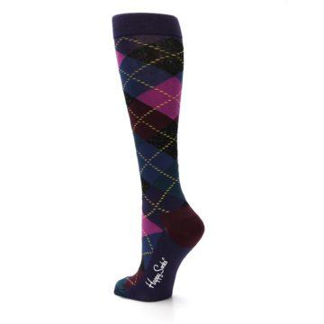 Image of Purple Multi Argyle Women's Knee High Socks (side-2-back-15)