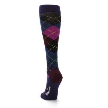 Image of Purple Multi Argyle Women's Knee High Socks (back-17)