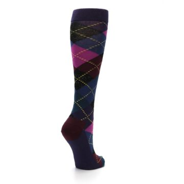 Image of Purple Multi Argyle Women's Knee High Socks (side-1-back-22)