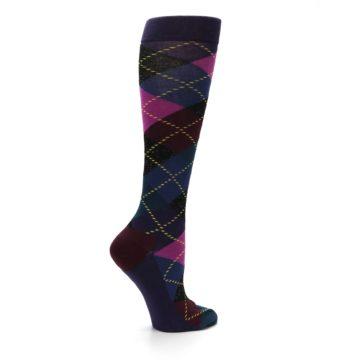 Image of Purple Multi Argyle Women's Knee High Socks (side-1-24)