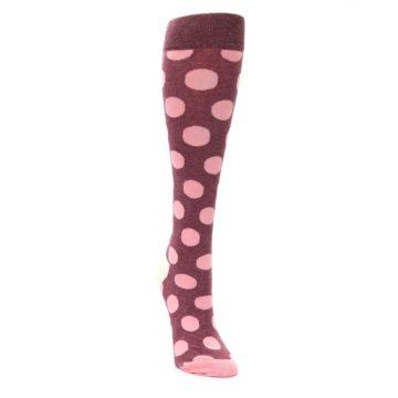Image of Pink Polka Dot Women's Knee High Socks (side-1-front-03)