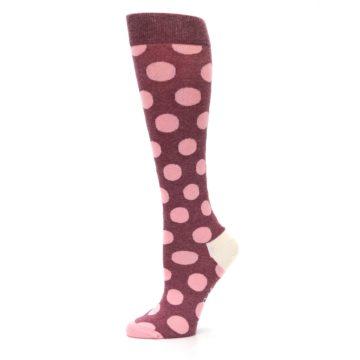 Image of Pink Polka Dot Women's Knee High Socks (side-2-11)