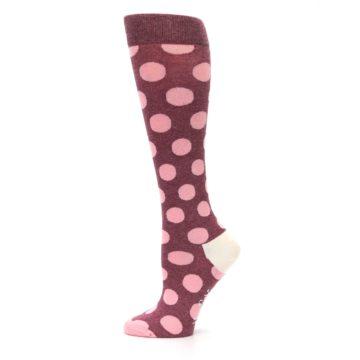 Image of Pink Polka Dot Women's Knee High Socks (side-2-12)