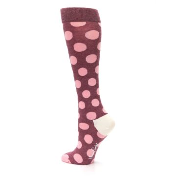 Image of Pink Polka Dot Women's Knee High Socks (side-2-back-14)