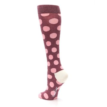 Image of Pink Polka Dot Women's Knee High Socks (side-2-back-15)