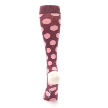 Image of Pink Polka Dot Women's Knee High Socks (back-18)