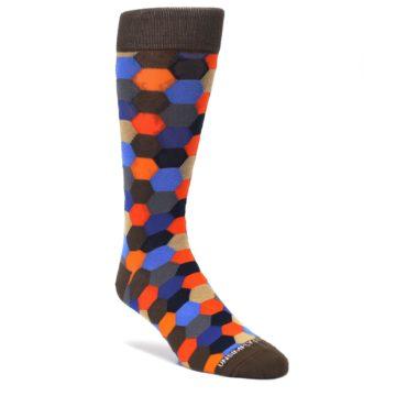 Brown-Orange-Blue-Hexagon-Mens-Dress-Socks-Unsimply-Stitched