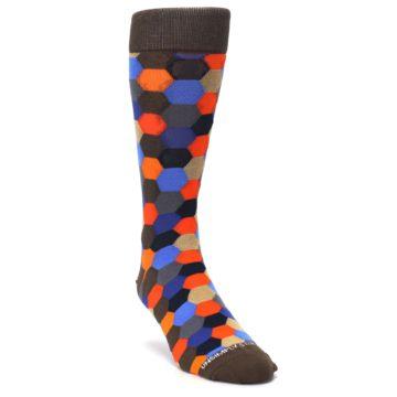 Image of Brown Orange Blue Hexagon Men's Dress Socks (side-1-front-02)
