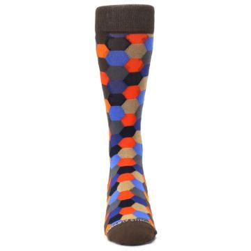 Image of Brown Orange Blue Hexagon Men's Dress Socks (front-04)