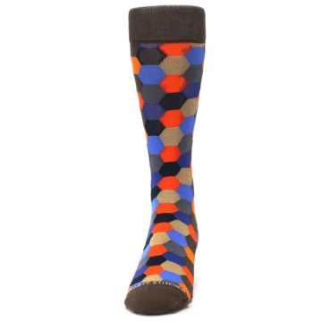Image of Brown Orange Blue Hexagon Men's Dress Socks (front-05)