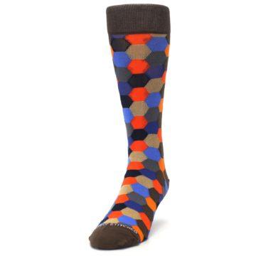 Image of Brown Orange Blue Hexagon Men's Dress Socks (side-2-front-06)