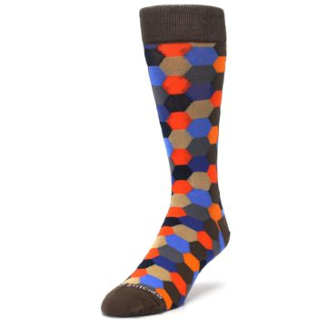 Image of Brown Orange Blue Hexagon Men's Dress Socks (side-2-front-07)