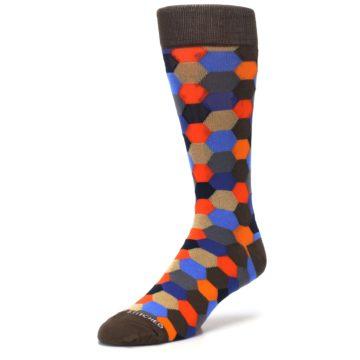 Image of Brown Orange Blue Hexagon Men's Dress Socks (side-2-front-08)
